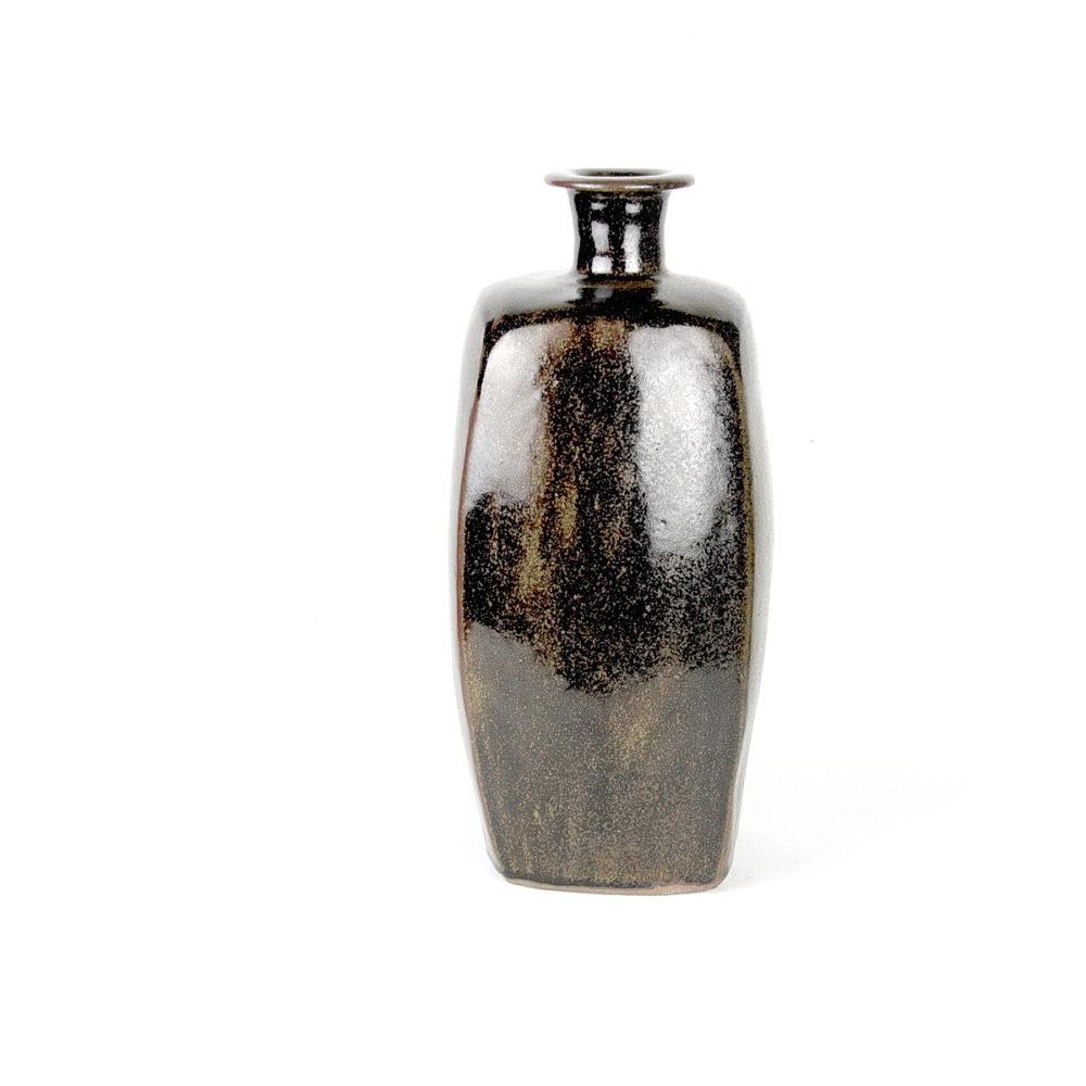Bernard Leach stoneware tall squared bottle vase