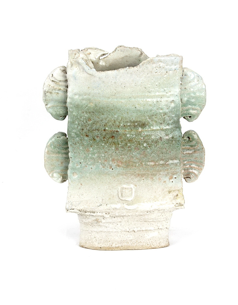 Colin Pearson footed stonware rectangular vessel, double wings and mottled white and green glazes