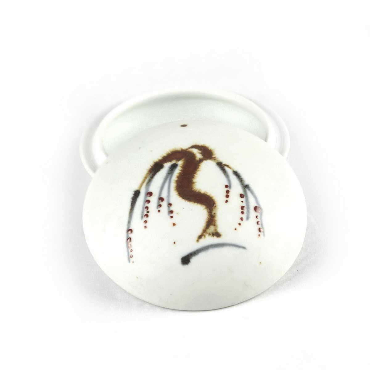 David Leach round porcelain lidded box with weeping willow motif to top