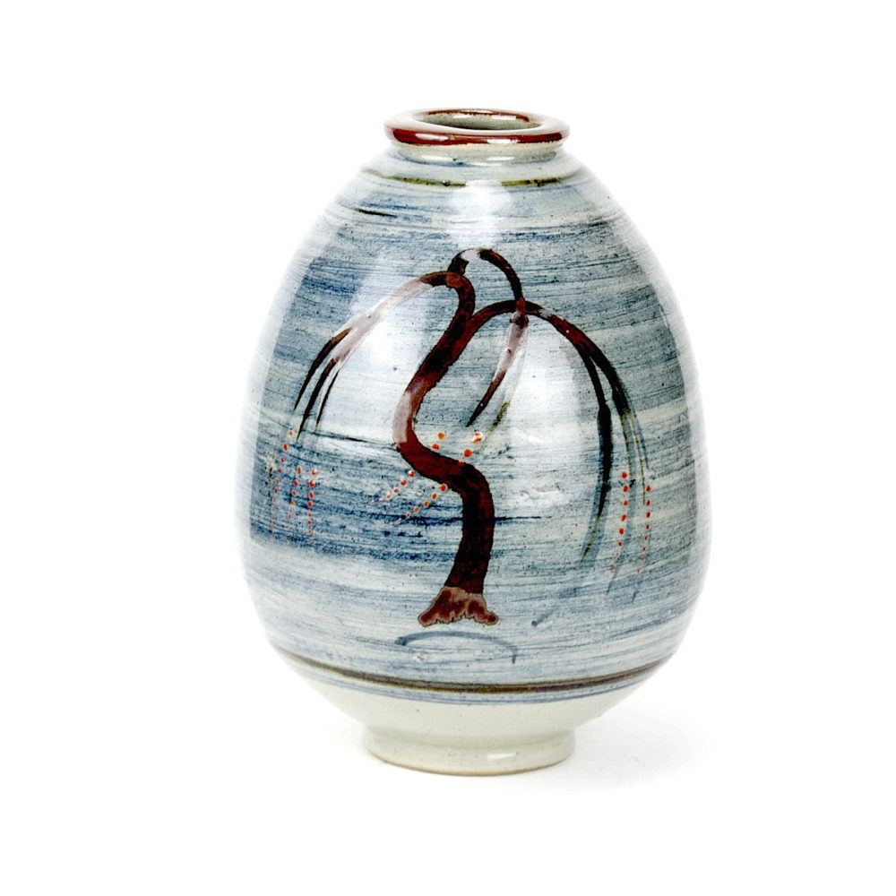 David Leach ovoid porcelain vase with blue brushed wash and willow tree design