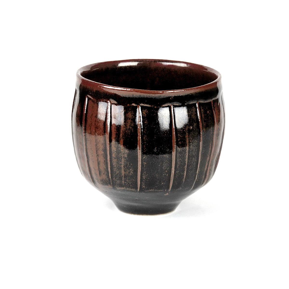 David Leach stoneware fluted bowl tenmoku glaze