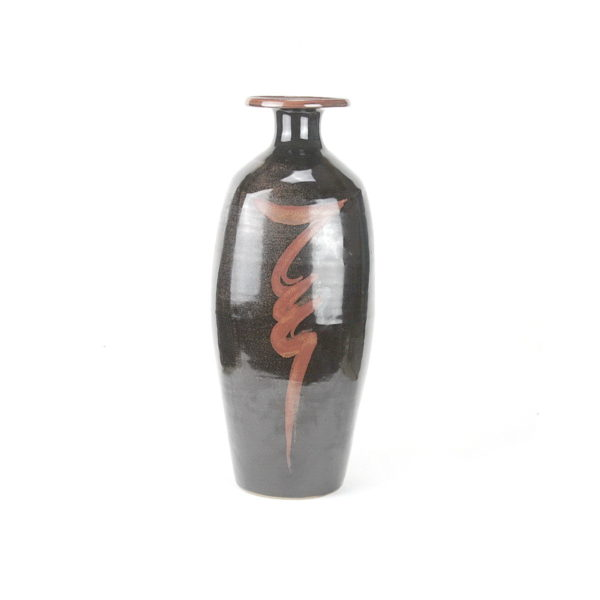 "David Leach tall stoneware bottle vase with resist ""lightening bolt"" to front"
