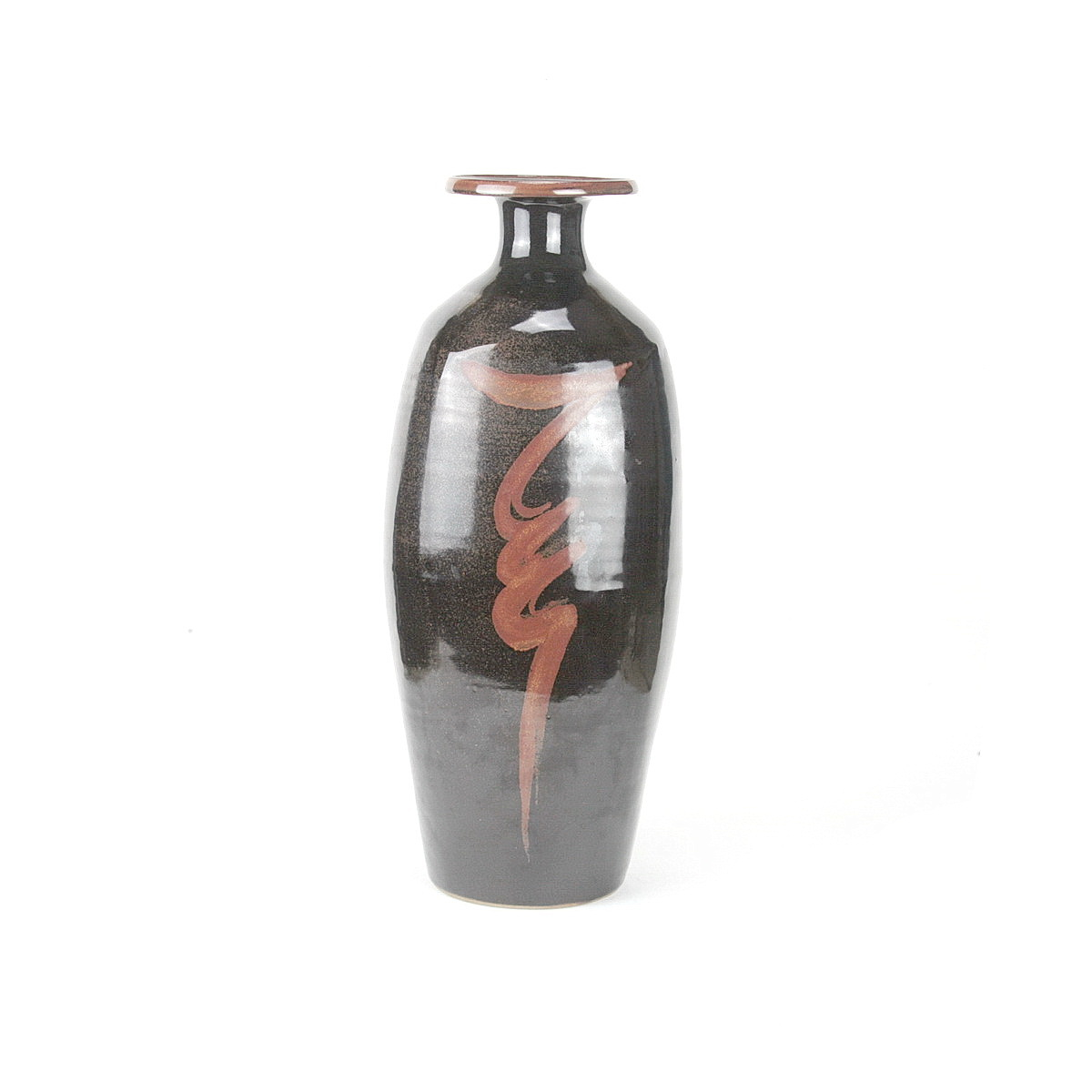 """David Leach tall stoneware bottle vase with resist """"lightening bolt"""" to front"""