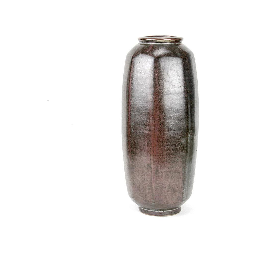 David Leach tall stoneware cutsided vase