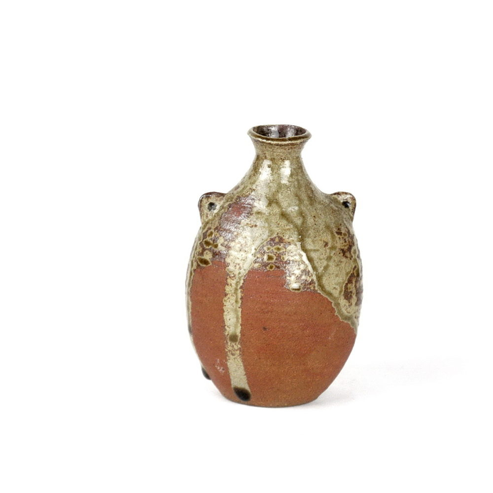 Janet Leach small stoneware vase with 2 lugs near neck