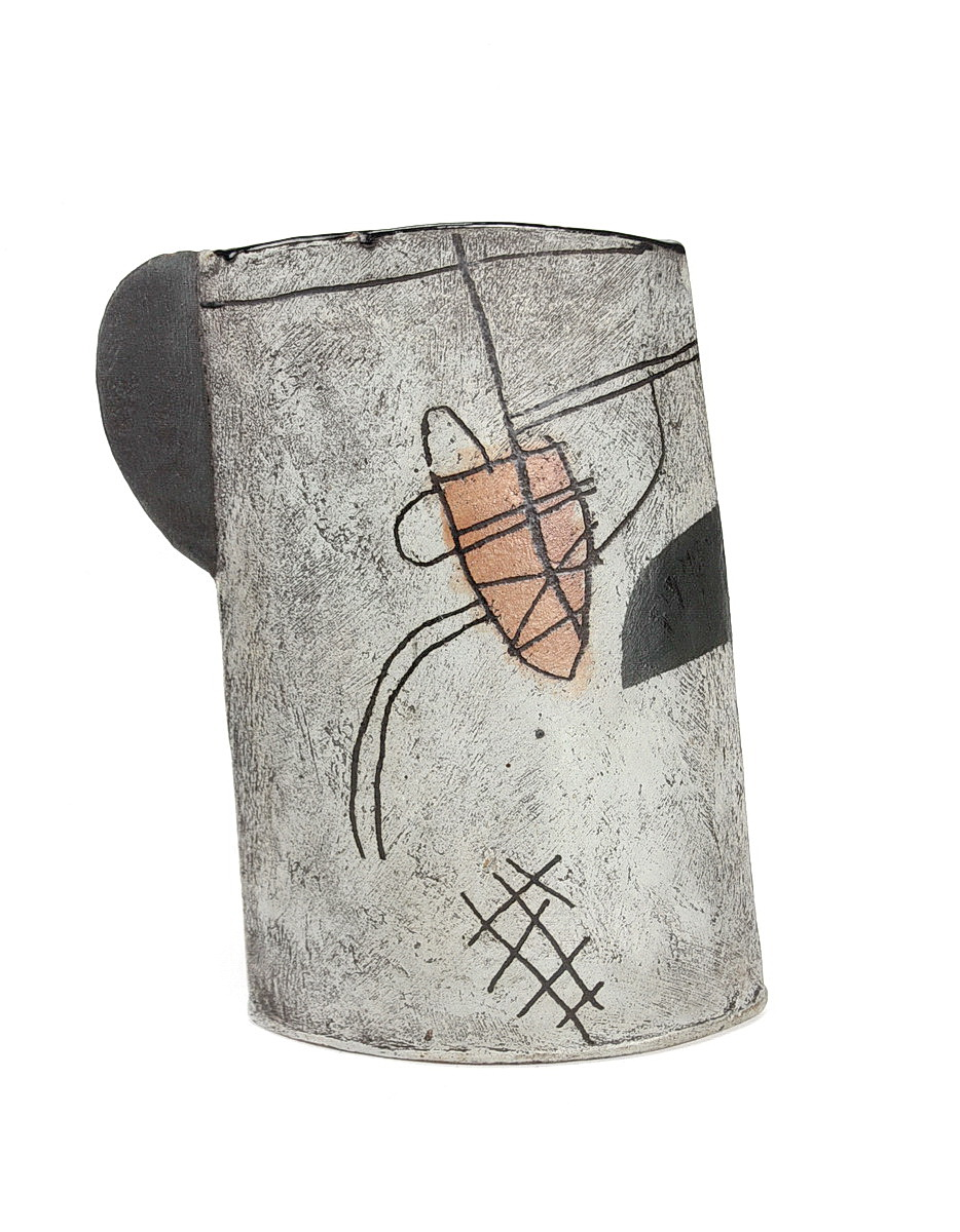 John Maltby large stoneware vessel with drawing of boat in a harbour. Grey background and black semi circle handle