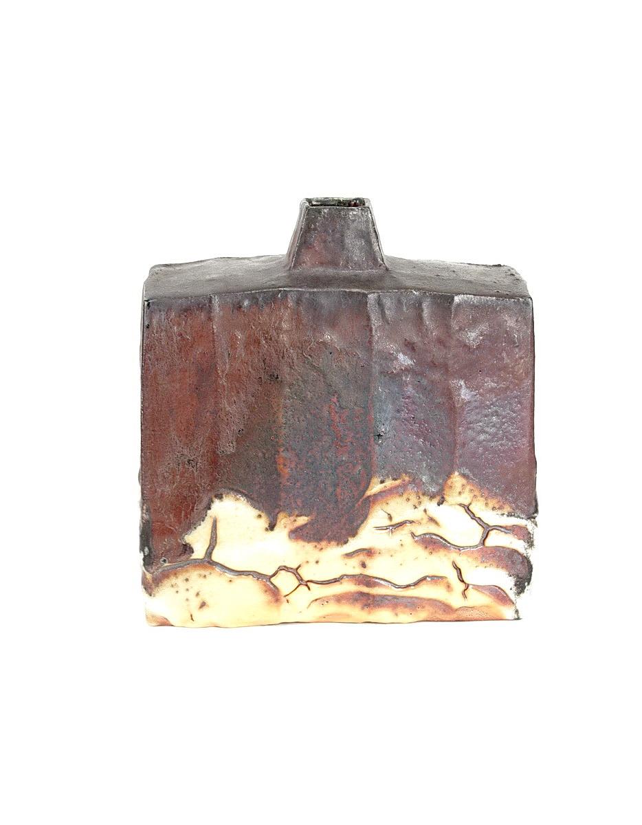 Ken Matsuzaki stoneware rectangular bottle vase with yohen shino glaze