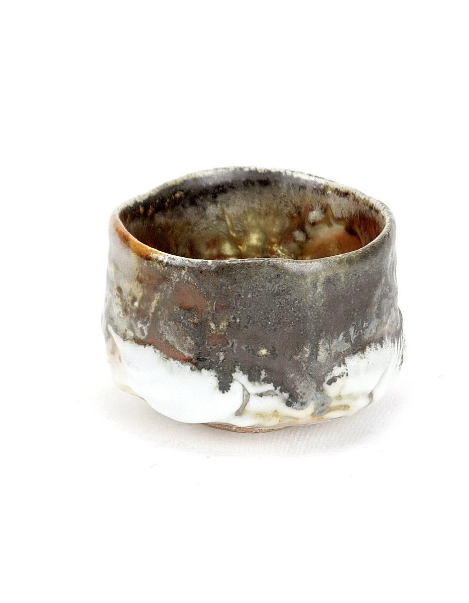 Ken Matsuzaki stoneware chawan/tea bowl gold yohen shino glaze