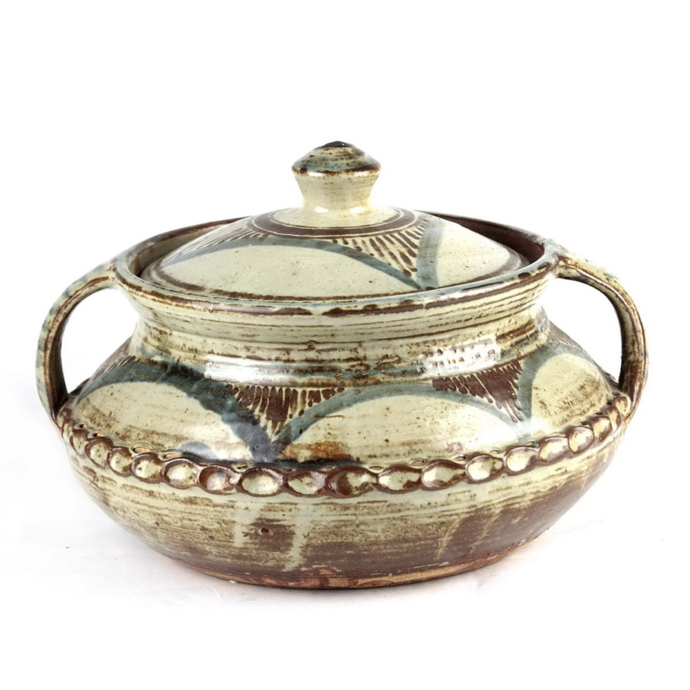 Michael Cardew large stoneware lidded casserole with handles. Brushwork decoration around upper body and lid