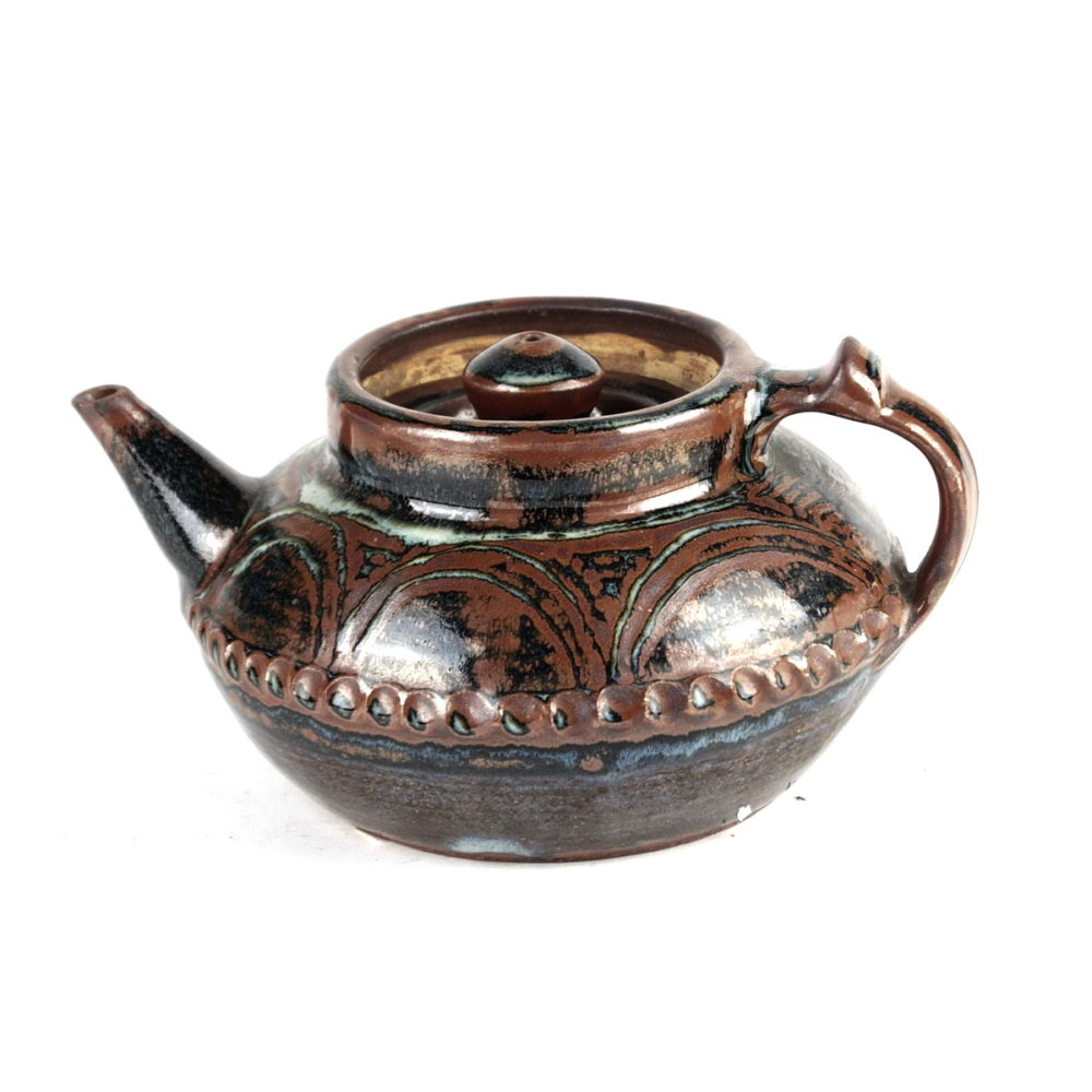 Michael Cardew ceramic stoneware teapot with crimped decoration to belly and pattern work above