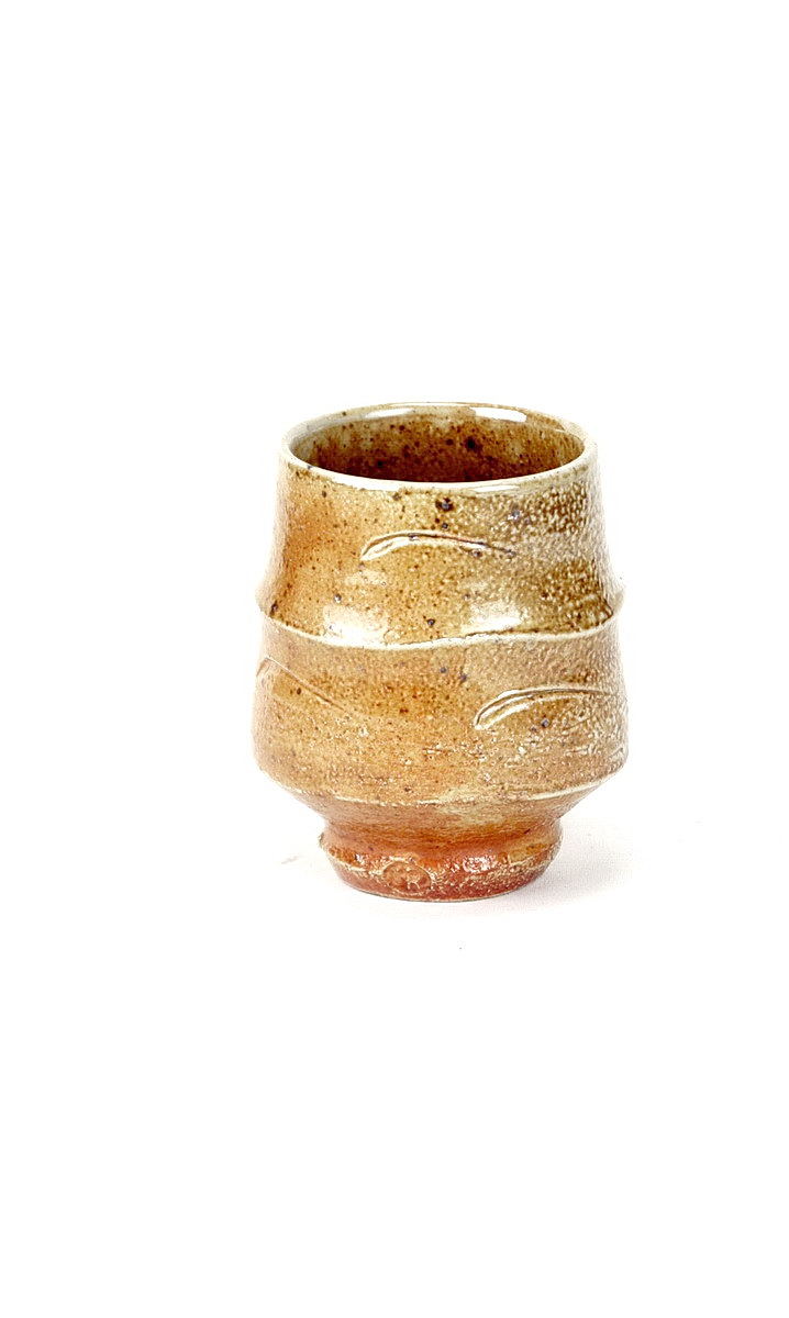 Phil Rogers stoneware unomi, ash glaze and incised decoration around body