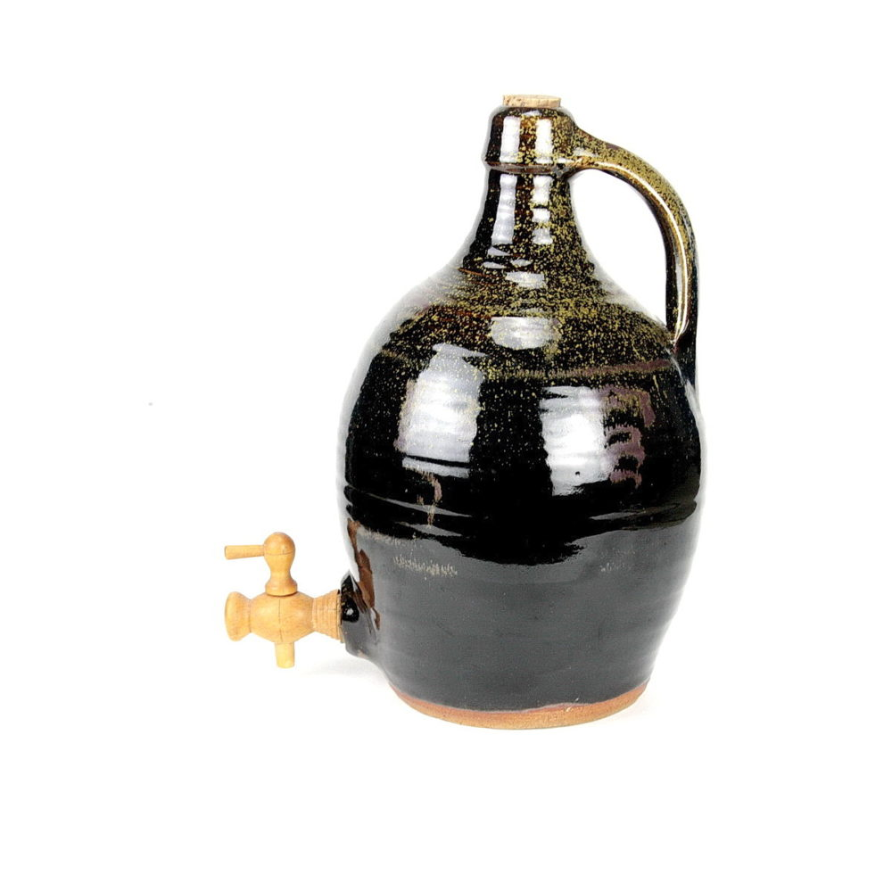 Ray Finch large bulbous stoneware cider jar with cork stopper and wooden pourer spout