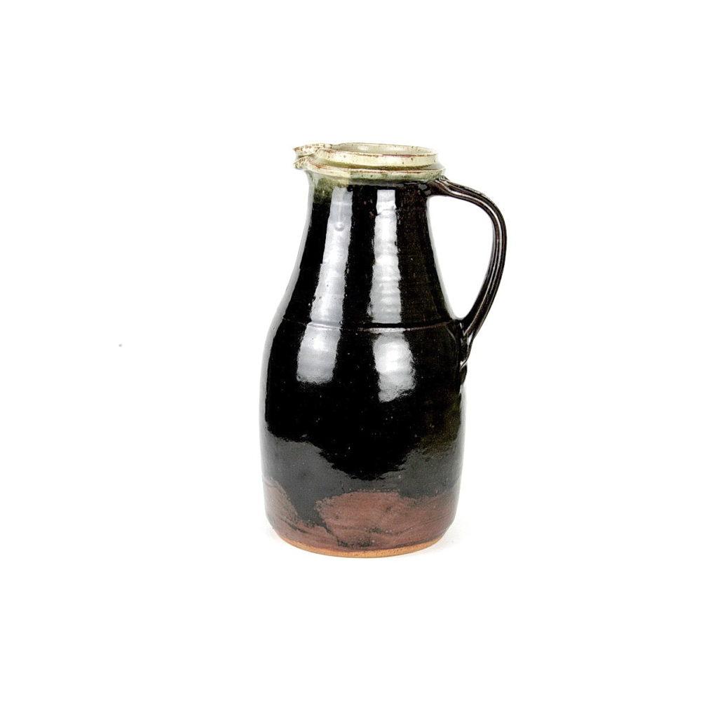 Richard Batterham large stoneware tenmoku glazed jug with white lip