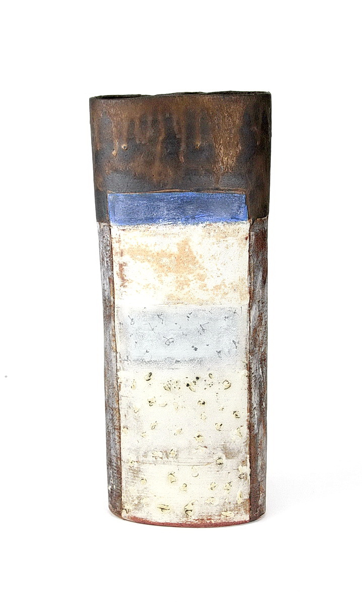Robin Welch tall stoneware vessel with black, bronze, white and blue glaze