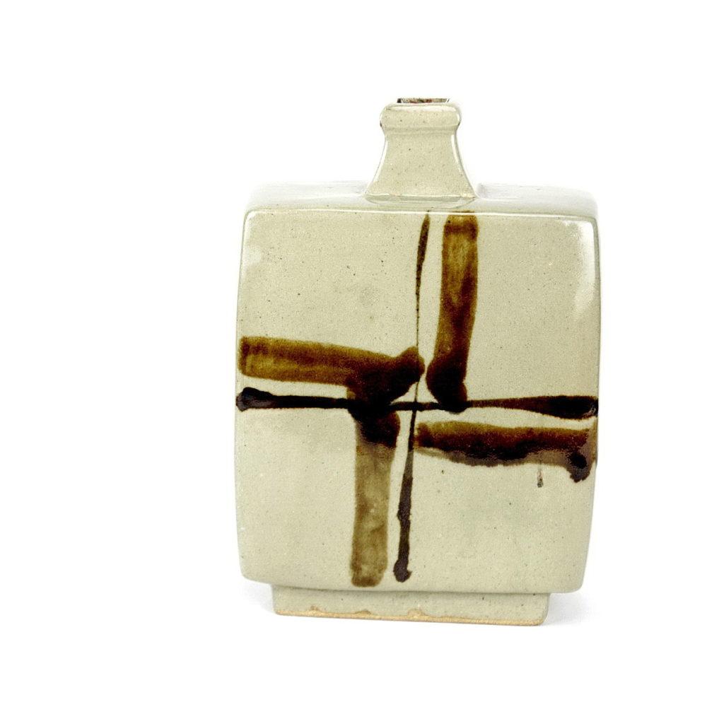 Shoji Hamada stoneware squared bottle with cross brush work to 2 sides