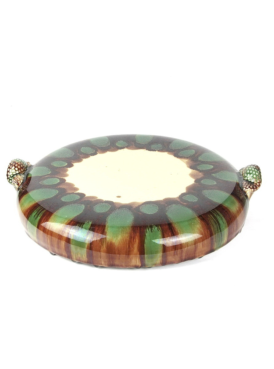 Takeshi Yasuda large stoneware pillow dish with handles and sancai glazes