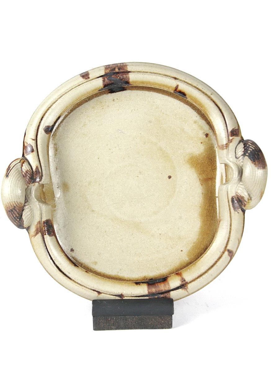 Yasuda Takeshi stoneware platter with handles