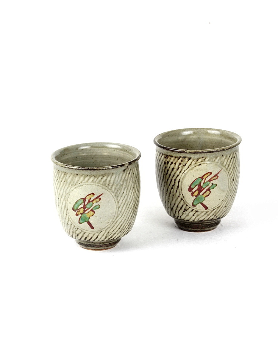 Tatsuzo Shimaoka pair of stoneware unomi with rope inlay and glaze brushwork