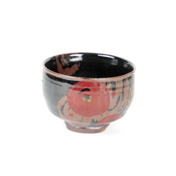 Tomoo Hamada stoneware chawan/teabowl with abstracgt floral decoration externally and internally