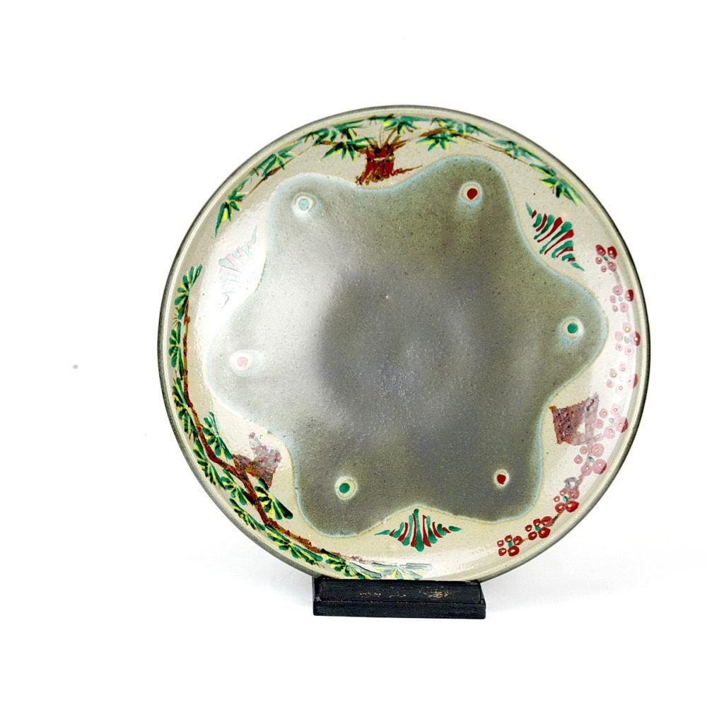 Tomoo Hamada stoneware dish with enamel decoration trees and berries