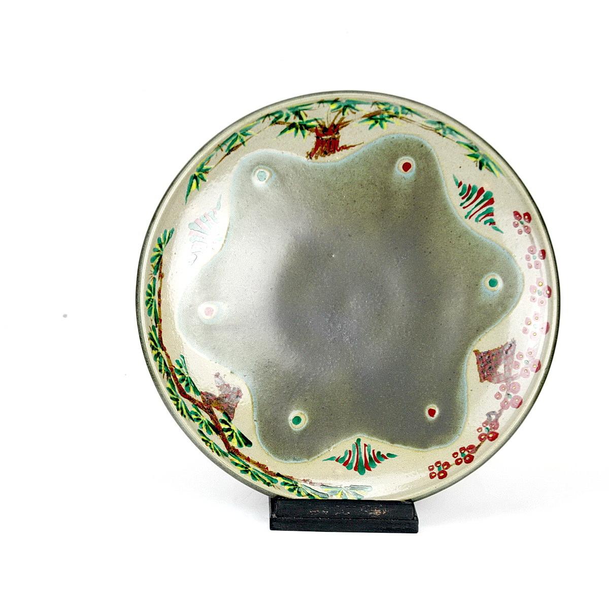 Tomoo Hamada stoneware dish with enamel decoration trees and berries