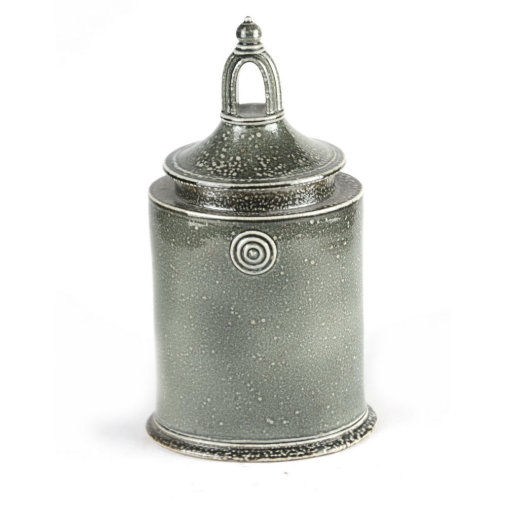 Walter Keeler tall salt glazed stoneware lidded jar with arch window type handle to top