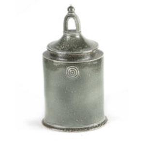 Walter Keeler tall salt glazed stoneware lidded jar with arch window type handle to top