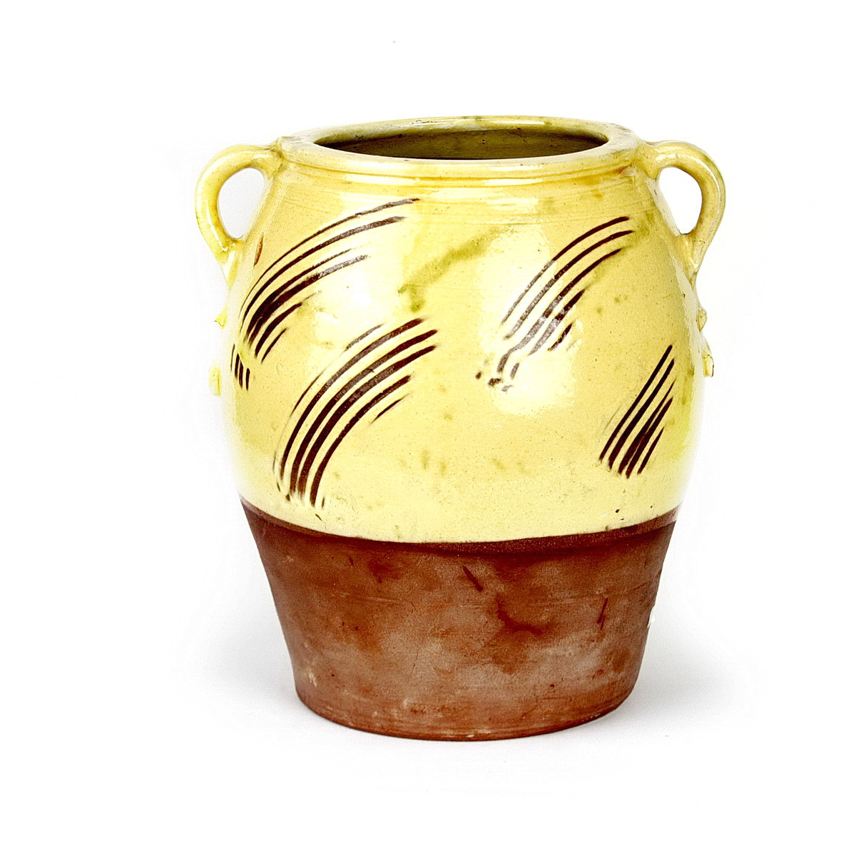 William Marshall large earthenware pot with 2 handles. Yellow glaze to the top of the pot with sgrafitto marks through glaze