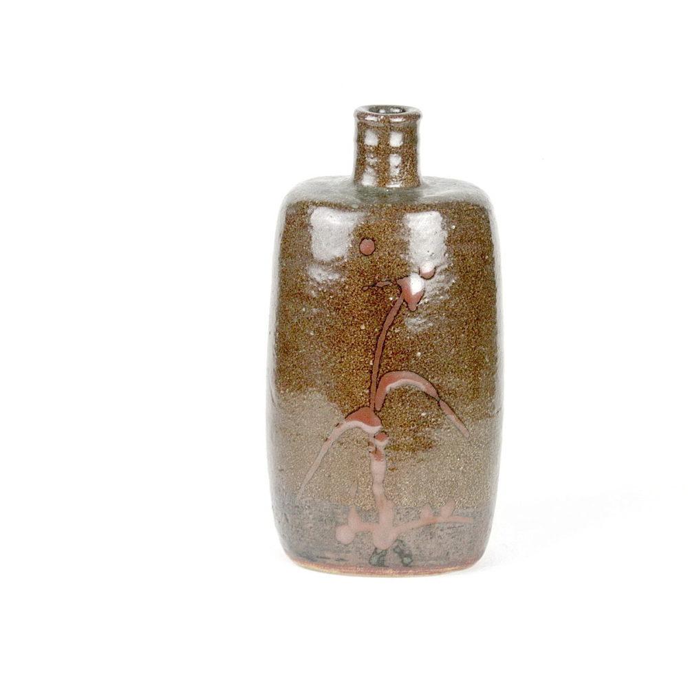 William Marshall stoneware bottle vase with brushwork pattern