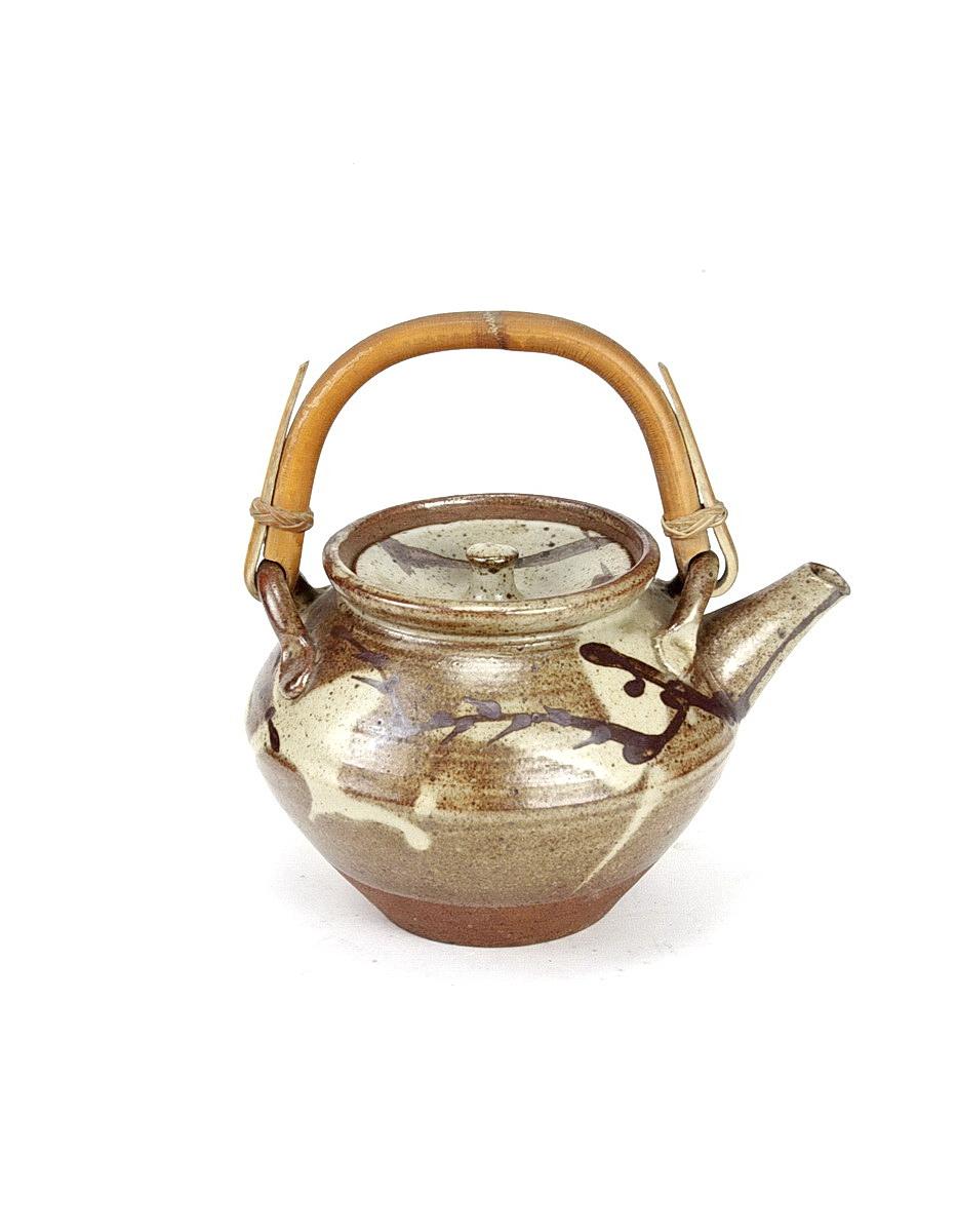 William Marshall stoneware teapot with bamboo handle to top and brush decoration around body